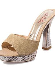 женские туфли пу летние сандалии пятки платье / вскользь плоские пятки другие черный / серебро / золото
