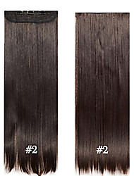 "Clip in Synthetic Hair 24"" 60cm 120g #2 Long Straight  Clip in hair extensions pieces 5 clips high temperature fiber"
