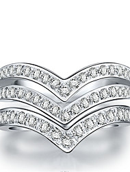 Speical Design Double V Wedding Band Rings for Women 925 Sterling Silver Semi Mount SONA Diamond Band Ring for Bridal