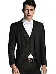 Men's Solid Casual / Work Blazer+Pant+Vest Set,Cotton / Acrylic Long Sleeve Black / Blue / Red / Gray 916278