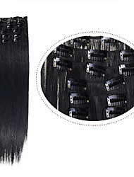"Synthetic Hair 1set Clip In Hair Extension 22"" Straight Synthetic Hair 7pcs/set #1 Natural Black 100g Heat Resistance"