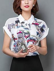 Women's Print White Shirt,Work / Casual Cute Shirt Collar Short Sleeve Fashion Loose Thin Polyester