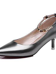 Damen-High Heels-Büro / Lässig-Lackleder-Stöckelabsatz-Absätze-Schwarz / Silber