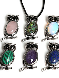 Beadia 27x53mm Vintage Antique Silver Plated Owl Necklace Pendant With Stone (1Pc)