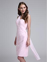 LAN TING BRIDE Mi-long Une Epaule Robe de Demoiselle d'Honneur - Sexy Sans Manches Mousseline de soie