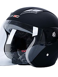 Black Clear Plastic Shell Motorcycle Motorbike Half Helmet w Scoop Visor