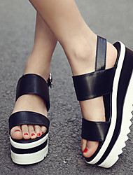 Women's Shoes PU Summer Wedges Heels Casual Wedge Heel Magic Tape Black / White / Silver