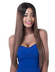 longas raízes negras sythetic europeu misturado marrom peruca partido direto para mulheres
