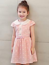 Girl's Cotton Summer Sweet Bowknot Princess Dress Print Dress
