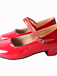 Customizable Women's Dance Shoes Latin / Samba Leatherette Chunky Heel Black / Red / Silver / Gold