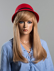 Simple Long Straight  Human Hair Wig With Full Bangs