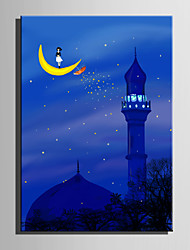 E-HOME® Stretched LED Canvas Print Art Tower Under The Moon LED Flashing Optical Fiber Print One Pcs