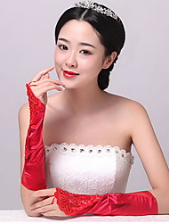 Elbow Length Fingerless Glove Spandex Bridal Gloves / Party/ Evening Gloves Spring / Summer / RedSequins / Pleated /