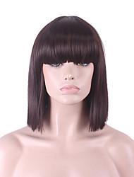 más vendido de Europa y los Estados Unidos peluca oscura Bobo peluca explosión aseada marrón de 12 pulgadas