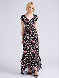Asymmetrical Chiffon Bridesmaid Dress Sheath / Column V-neck with Pattern / Print