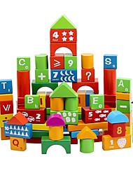 100 alphanumériques blocs de bois canon Vente en gros de la petite enfance jouets éducatifs de morceau de bois massif pour enfants