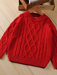 Girl's Casual/Daily Solid Sweater & Cardigan,Cotton Winter Red / White