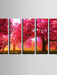 Rechteckig Modern/Zeitgenössisch Wanduhr,Anderen Leinwand 24 x 70cm(9inchx28inch)x5pcs/ 30 x 90cm(12inchx35inch)x5pcs