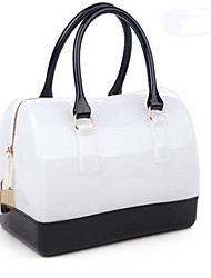 Women PU Formal Tote White / Red / Silver