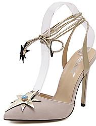 Damen-High Heels-Lässig-Vlies-StöckelabsatzSchwarz Mandelfarben