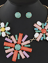 Womens European Style Fashion Metal Resin Wild Flowers Short Necklace Earring Sets