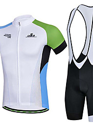 Sports Cycling Jersey with Bib Shorts Men's Short Sleeve Bike Breathable / Sweat-wicking Jersey + Shorts / Tops / Bottoms ElastaneSpring