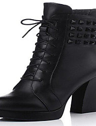 Women's Boots Spring / Fall / Winter Combat Boots Leather Outdoor Chunky Heel Zipper Black / Red