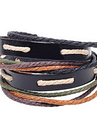 Brown Fabric Layered Leather Strand Bracelet