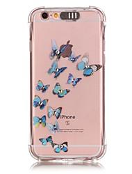 Pour Coque iPhone 6 Coques iPhone 6 Plus Lampe LED Allumage Auto Transparente Motif Coque Coque Arrière Coque Papillon Flexible PUT pour