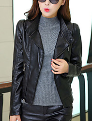 Women's Going out Street chic Spring / Fall Leather Jackets,Solid Shirt Collar Long Sleeve Black PU Medium