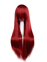 Cheap Price high temperature Fuxia Color Synthetic cosplay wig 80cm Young Long straight wigs