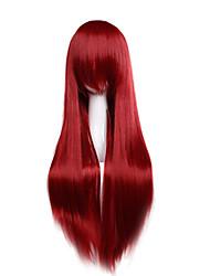 prix pas cher haute température couleur fuxia cosplay perruque synthétique 80cm jeunes longues perruques droites