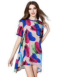 Women's Casual/Daily Simple Loose / Chiffon Dress,Print Round Neck Above Knee Short Sleeve Pink Cotton