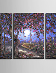E-HOME® Stretched Canvas Art Flower Field Under The Tree Decoration Painting  Set Of 3