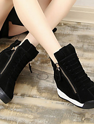 Women's Shoes Cowhide / Leather Winter Combat Boots / Square Toe Boots Casual Flat Heel Zipper /  Black / Brown