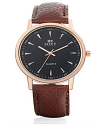 SOXY® Men's  Black/Brown Leather Band White Case Analog Quartz Dress Watch(NO Water Ressistant)