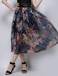 Women's Floral Blue / Yellow Skirts,Simple Midi