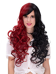 Fashion Synthetic Mix Red and Black Long Curly Women's Party Wig