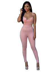 Women's Backless Solid Slim Backless Deep V Over Hip Jumpsuits,Street chic Strap Sleeveless