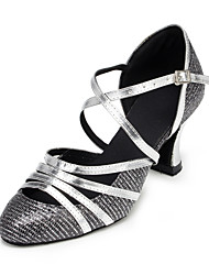 Women's Dance Shoes Modern Leather Chunky Heel Silver