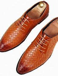 Для мужчин обувь Полиуретан Весна Осень Формальная обувь Туфли на шнуровке Назначение Повседневные Для вечеринки / ужина Белый Черный
