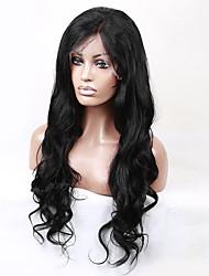 20-28 дюймов индийский виргинский человеческих волос естественный черный цвет U часть передний парик шнурка волны тела парик шнурка с
