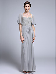 Lanting Bride® Sheath / Column Mother of the Bride Dress Ankle-length Half Sleeve Chiffon with Side Draping / Sequins