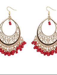 Bohemian Hollow Beads Tassel Grain Trend Pierced Holiday Earrings