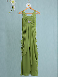 LAN TING BRIDE Floor-length Chiffon Junior Bridesmaid Dress Sheath / Column V-neck Natural with Crystal Brooch