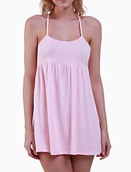 Women's Strap Mini Dress , Cotton Pink Beach/Casual