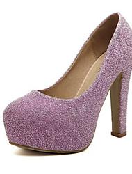 Черный / Фиолетовый / Серебристый-Женский-На каждый день-Лак-На толстом каблуке-На каблуках-Обувь на каблуках