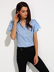 Vrouwen Eenvoudig Lente / Zomer / Herfst Blouse,Nette schoenen Effen V-hals Korte mouw Blauw / Wit / Groen Polyester Dun