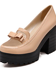 Women's Shoes Leatherette Spring / Summer / Fall Heels Heels Office & Career /  / Casual Chunky Heel BowknotBlack