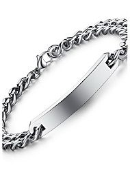 Hight Quality Titanium Steel Silver Chain ID Bracelet for Couple
